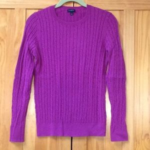 Talbots | Purple Pullover Cable Knit Sweater